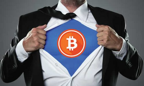Super hero disguise with Bitcoin logo on it